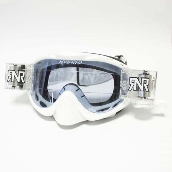 Rip N Roll Hybrid Motocross MX Moto-X Enduro Roll Off Goggles - White