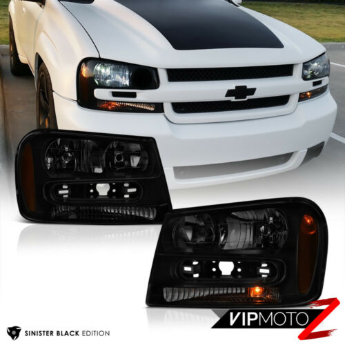 "02-09 Chevy Trailblazer /""DARKEST BLACK SMOKE/"" LEFT+RIGHT Headlight Signal Lamp"