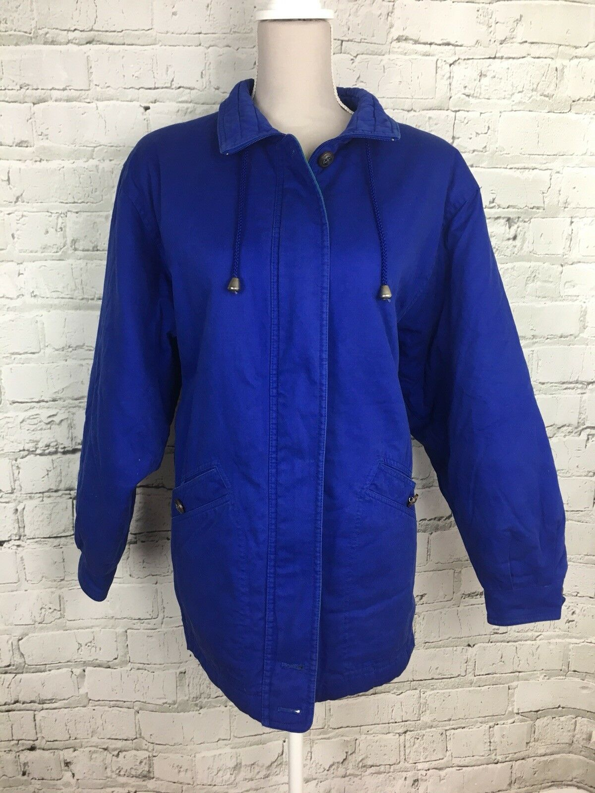 Womens M&S bluee Retro Long Sleeve Vintage Oversized Winter Coat Size 12