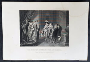 1859-T-Gaspey-Original-Antique-Print-Interview-of-Edgar-and-Alfrida-by-Kauffman