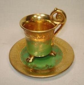 Art-Deco-Epiag-Czech-Demitasse-Green-Gold-Cup-amp-Saucer-Nymphs