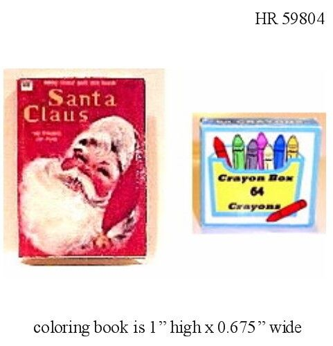 1:12 Scale SANTA Coloring Book /& Crayons Dollhouse Miniature Adult Collectable