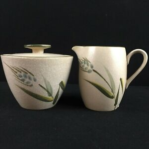 VTG Sugar Bowl and Creamer Set Sears Wild Rice Green Stoneware Wheat 4103 Japan