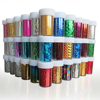 12 X Nail Art Decor Tool Kit Wrap Foil Transfer Acrylic Adhesive Sticker