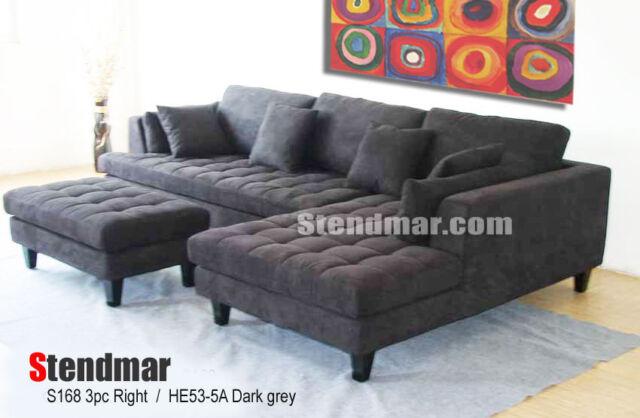 3 Pc Modern Dark Grey Microfiber Sectional Sofa Set S168rdg For