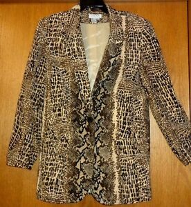 Comfort M Your For Womans Brown Silk 100 Blazer Sz Sharp Snakeskin Print q5g84wTC
