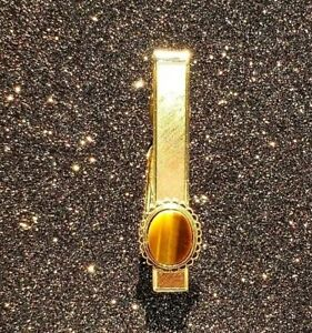 Vintage-Dante-Goldtone-Tie-Clip-w-Tiger-039-s-Eye-Stone