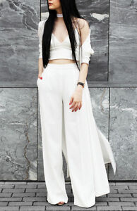 ZARA-OFF-WHITE-BLACK-FLOWING-PALAZZO-HIGHWAISTED-TROUSERS-PANTS-XS-S-M-L