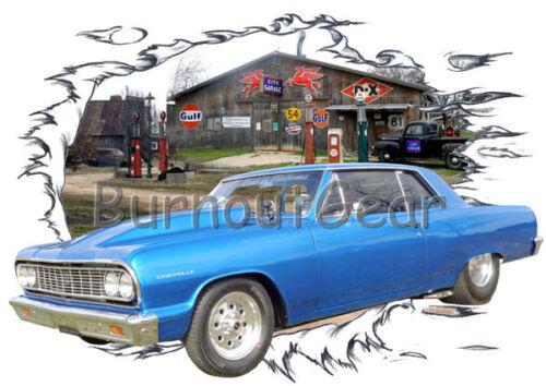 1964 Blue Chevy Chevelle b Custom Hot Rod Garage T-Shirt 64 Muscle Car Tees