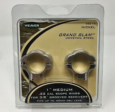 """Weaver Grand slam Rifle Scope Rings 1/"""" Medium Gloss Standard dovetail 49202"""
