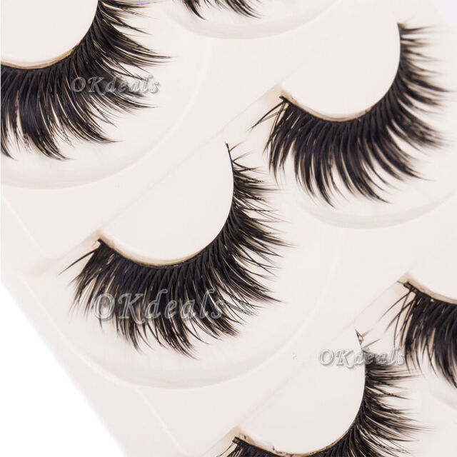 Soft 5 Pairs Handmade Makeup Thick False Eyelashes Eye Lashes Long Black Nautral