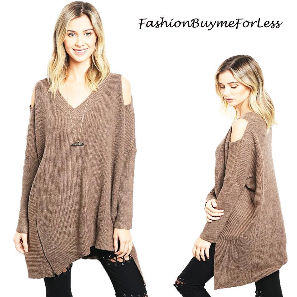 Haute BOHO Brown Goth Open Shoulder Oversize CASHMERE Tunic Sweater Top S M L XL