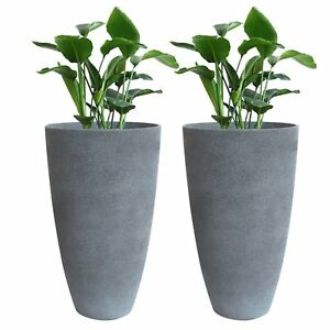 Tall Planter Set 2 Flower Pots Patio