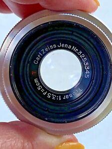 Vintage-Carl-Zeiss-Jena-Tessar-1-3-5-f-5cm-Red-T-lens-Nr-3253345