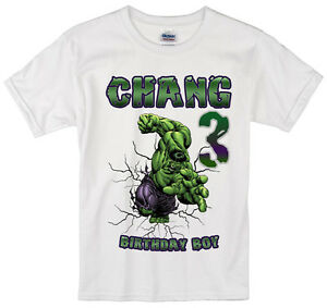 Image Is Loading Incredible Hulk Birthday Shirt Personalized Custom Name Age