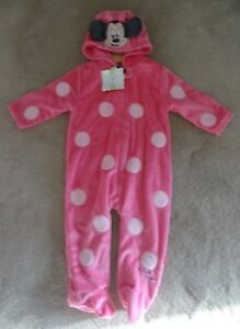 9-12 Months Strong Resistance To Heat And Hard Wearing Girls' Clothing (newborn-5t) Sleepwear Bnwt Baby Girl's Disney Minnie Mouse Pink All-in-one Bodysuit