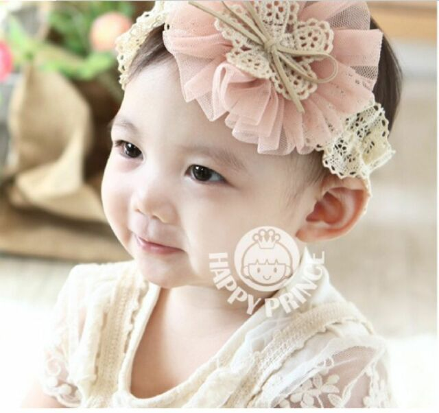 kids girl's flower lace hairband wedding photo headband baby PEACH PINK
