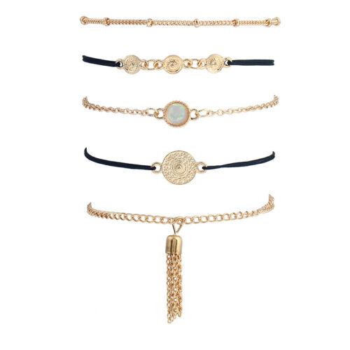 5 teiliges Armband Set Armreif Modeschmuck Boho Indi Elegant Gold farbend Fein