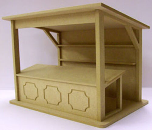 1:12 Escala Plana estándar Pack Mdf puesto del mercado Kit De Casa de muñecas en miniatura tienda