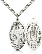 Our Lady of Miraculous Medal Pendant For Men - .925 Sterling Silver Necklace ...