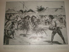 Rain Making Gypsy dance in Romania 1905 print Ref L
