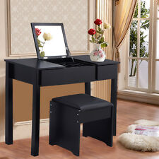 Black Vanity Dressing Table Set Mirrored Bedroom Furniture W/Stool  &Storage Box