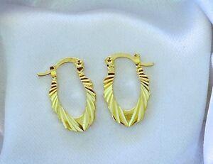 NEW-14K-Y-Gold-Filled-U-Shape-Carved-Patterned-Earrings-Hoops-19mm-x-11mm-323