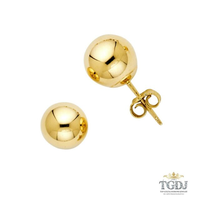 14k Solid Yellow Gold 4mm Push Back Ball Stud Earrings For Baby Children S