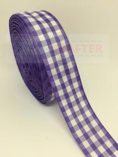 Cuadros escoceses tartán poliéster Arcos de la cinta púrpura 25 mm de doble cara