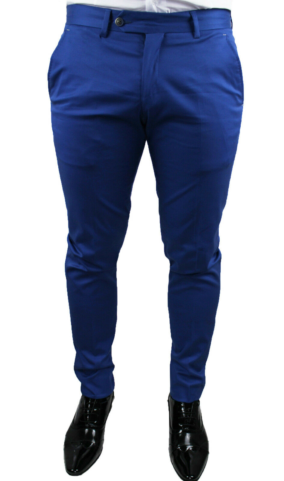 MEN'S TROUSERS DIAMOND ÉLÉGANT CASUAL blueE LIGHT SLIM FIT NEW MADE IN ITALY