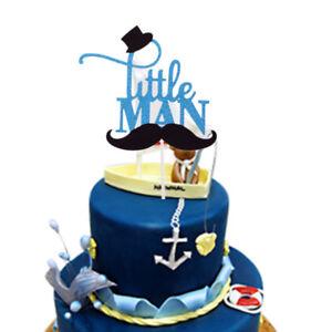 Little Man Cake Toppers Happy Birthday Baby Shower Cake Flag Cake