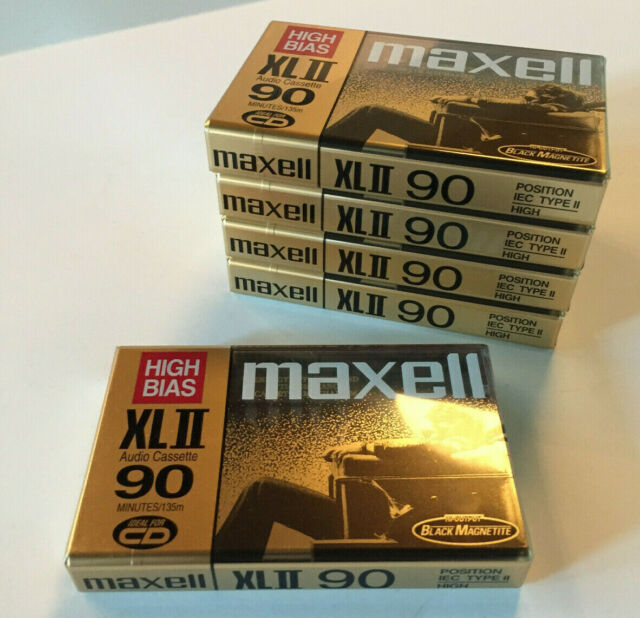 5 MAXELL High Bias XLII 90 min. Sealed blank audio cassettes Black Magnetite