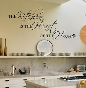 large kitchen wall sticker quote is the heart of home new uk