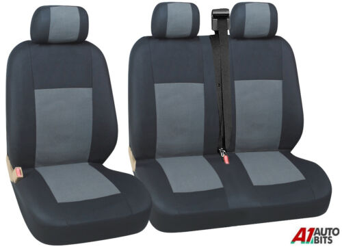 GREY BLACK FABRIC SEAT COVERS 2+1 FOR MITSUBISHI FUSO CANTER NEW