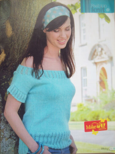 Ladies Sping Off Shoulder Top KNITTING PATTERN Cotton DK chest 34-46 inch