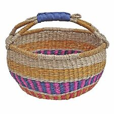 Colourful African Style Shopping Bag, Seagrass Storage Basket