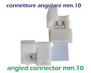 Connettore angolare mm.10 a 2pin x strisce led colore singolo, chiusura a scatto