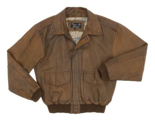 Vintage Leather BOMBER Jacket S Small Mens Brown A