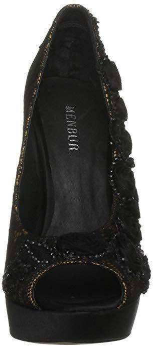 BNWB SIZE BLACK 6 39 MENBUR BLUM BLACK SIZE LACE DIAMANTE & NUDE PEEP COURT Schuhe 9d99ba