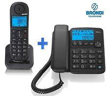 KIT TELEFONO FISSO + CORDLESS INTERCOMUNICANTI DECT VIVAVOCE DISPLAY LCD BRONDI