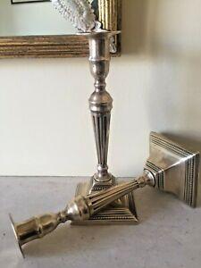 Pair-Of-Antique-Georgian-18th-c-Adam-Style-Brass-Candlesticks-RARE