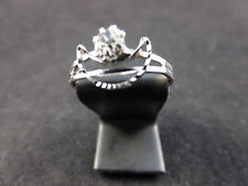 Silver Toned & Rhinestone Crystal Adjustable Crescent/Moon Design Fashion Ring