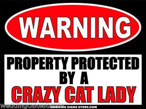 Crazy-Gato-Dama-Divertido-Senal-de-advertencia-calcomania-Puerta-Etiqueta-6-pulgadas-de-ancho-WS336