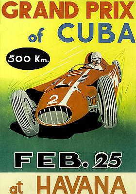 Grand Prix of Cuba race vintage poster repro