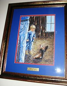 Australian-Artist-Brenda-Roberton-039-s-original-pastel-titled-039-Helping-Grandpa-039