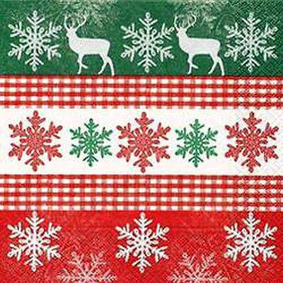 *paper+design*weihnachten*20 Servietten*schneeflocke&hirsch*rot- Grün- Weiß*