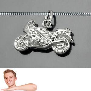 Herzhaft Männer Motorrad Renn Maschine Biker Anhänger -l- Mit Kette Echt Silber 925 Neu Attraktives Aussehen