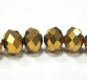 20 fire-polished 8mm Gold Brown Czech Crystal Glass Beads