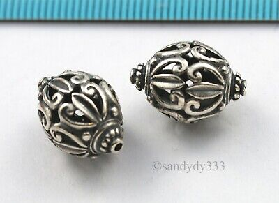 1x OXIDIZED STERLING SILVER 1-STRAND FLOWER ROUND BOX PEARL CLASP 10.4mm N391