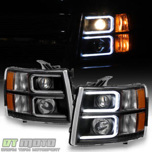 Image Is Loading Black 2007 2017 Chevy Silverado Optic Led Projector